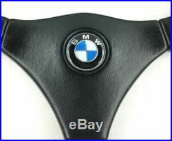Véritable MOMO 380mm Cuir Noir Direction Roue BMW E36 E30 E21 E24 E34 Etc 7A